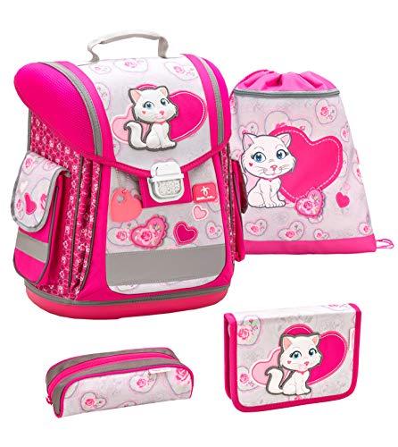 Belmil ergonomischer Schulranzen Groß Set 4-teilig für Mädchen 1, 2, 3, Klasse/Leicht: 950-1000 g/Pussycat, Kätzchen/Pink, Rose (404-5 Pussycat)
