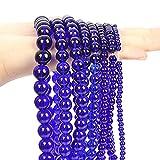 Cuentas de Piedra Naturales de Vidrio Azul Liso Redondo de la Perla espaciadora Suelta para la fabricación de Joyas -4/6/8/10 / 12mm (Color : Blue, Item Diameter : 8mm-45pcs)