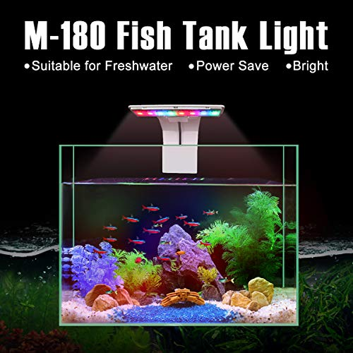 Senzeal M-180 Aquarium Fish Tank Light US 5W 16 LED Aquarium Planted Clip Lamp 550LM for 12 Inch Fish Tank White LED Lighting