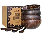 Coconut Bowls And Wooden Spoon Sets: 4 Vegan Organic Salad Smoothie or Buddha Bowl Kitchen Utensils (4, Polished)