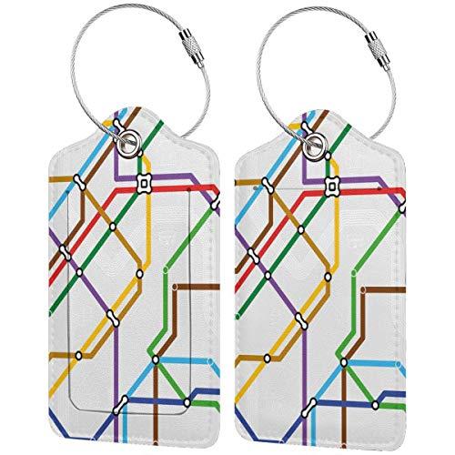 WINCAN Etiquetas para Equipaje,Mapa de la Ruta del Metro a Rayas Vibrantes Imprimir,2 Piezas Etiquetas de Equipaje de Viaje Etiquetas de Identificación de la Maleta para Maletas,Mochila