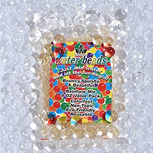 AINOLWAY 8 OZ Water Beads, Original Size Water Gel Bead Jelly Growing Balls for Kids Tactile Toys, Sensory Toys, Vase Filler (Clear)