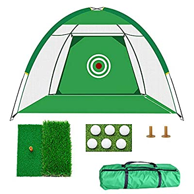 Portable Golf Hitting Net Home/Backyard Driving Range Combo Golf Practice Net Traning Aids with Golf Mat Balls Tees for Indoor Outdoor Use…