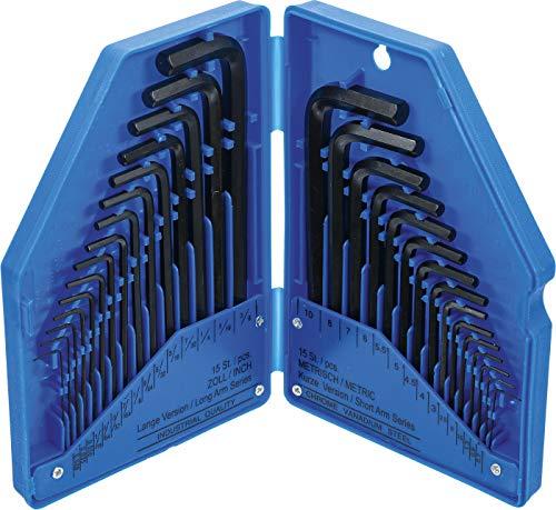 Kraftmann 810 | Winkelschlüssel-Satz | Zollmaße/metrisch | Innensechskant | 30-tlg.