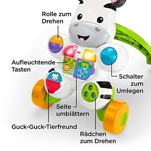 Fisher-Price DLD94 Zebra Lauflernwagen Lauflernhilfe mit Musik und Lichtern lehrt Buchstaben und Zahlen, ab 6 Monaten deutschsprachig - 3