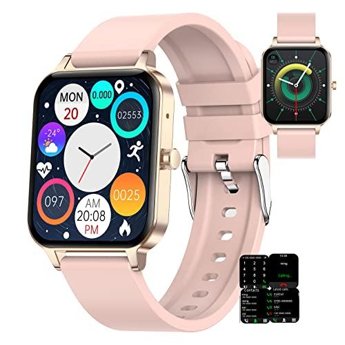 BNMY Smartwatch Pantalla Táctil De 1,69', IP68 Impermeable Reloj Inteligente con Llamada Bluetooth, Reloj De Fitness con Podómetro Smartwatch Mujer Hombre para iOS Android,Rosado