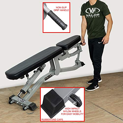 Valor Fitness DD-11 Adjustable Weight Bench for Flat/Incline Bench Press with Wheels, Black