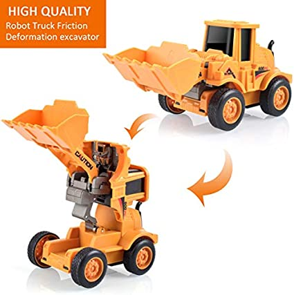 Transforming Construction Toys INLAIER Transforming Construction Toys Excavator Toys Friction Powered Push and Go Toy Cars Vehicles Truck for Kids Boys Girls Toddlers Age 3-6