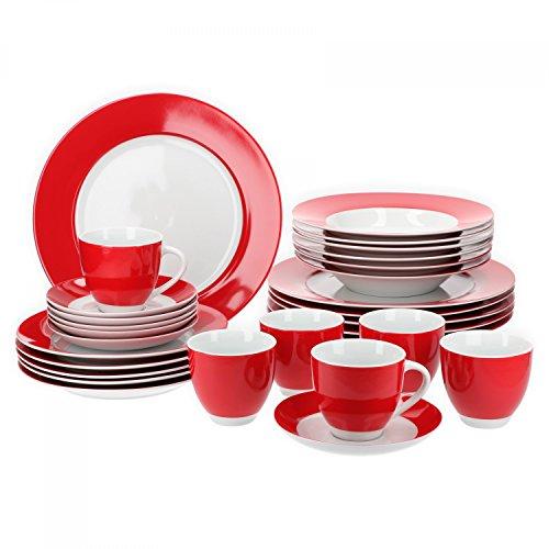 Van Well Vario hochwertiges Porzellan Geschirrset für 6 Personen für Gastro Hotel Privat I zweifarbiges Speiseservice-Tafel-Set Spülmaschinensicher I Kombi-Service 30-teilig Weiss rot