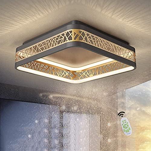 Luz De Techo LED, Regulable Con Control Remoto Lámpara De Techo Lámpara De Techo Negro Y Dorado Hallow Out Diseño Sombra Acrílica Para Sala De Estar Dormitorio (Color : 42cm*42cm)