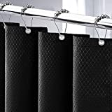Cortina de Ducha 180x200cm Cortina de Baño Impermeable Tela Poliéster Lavable Antimoho con 12 Anillas de Metal Ducha Diseño de Dobladillo Ponderado (Negro, 180*200CM)
