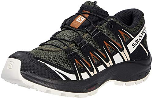 Salomon XA Pro 3D J, Zapatillas de Trail Running Unisex Niños, Verde (Grape Leaf/Vanilla Ice/Caramel Café), 38 EU
