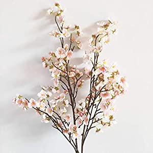 2 Pack 37″ Long of Plum Blossom Artificial Flowers Fake Flower Cherry Blossom for Home Wedding Party Decoration (Pink)