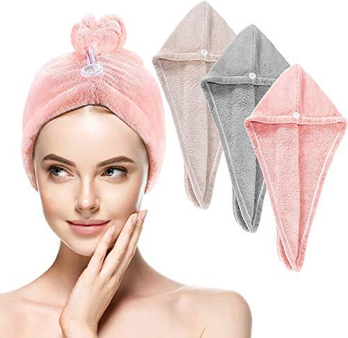 Toalla turbante para el pelo, muy absorbente, secado rápido, turbante con diseño de botones, microfibra, secado rápido, absorbente, para todo tipo de cabello (3 unidades)