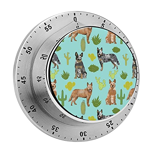Digital Kitchen Timer Magnetic Alarm Clock, Australian Cattle Dog Blue and Red Heelers Cactus Blue Tint Mechanical Stainless Steel Timer for School, Learning, Projects, and Kitchen Tasks