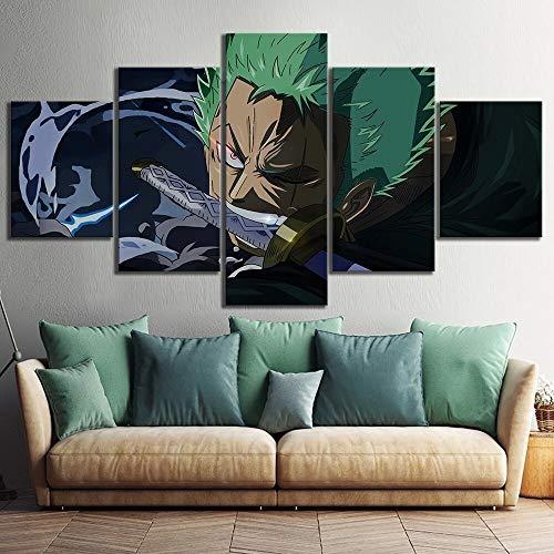 5 Unidades Wall Art Anime Poster Picture One Piece Roronoa Zoro Poster Wall Painting para el hogar Decoración Moderna Canvas