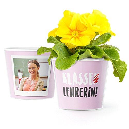 MyFacepot Klasse Lehrerin! Blumentopf (ø16cm) | Geschenk für Klassenlehrerin zum Abschied Schule mit Rahmen für Zwei Fotos (10x15cm)