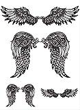 Etiqueta engomada del tatuaje temporal alas de ángel a prueba de agua grande mujer niña espalda pecho brazo etiqueta engomada del tatuaje falso 10pcs A