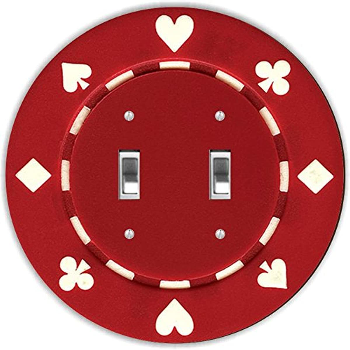 Rikki Knight RND-LSPDBL-83 Poker Chip Round Design Double Toggle Light Switch Plate, Red