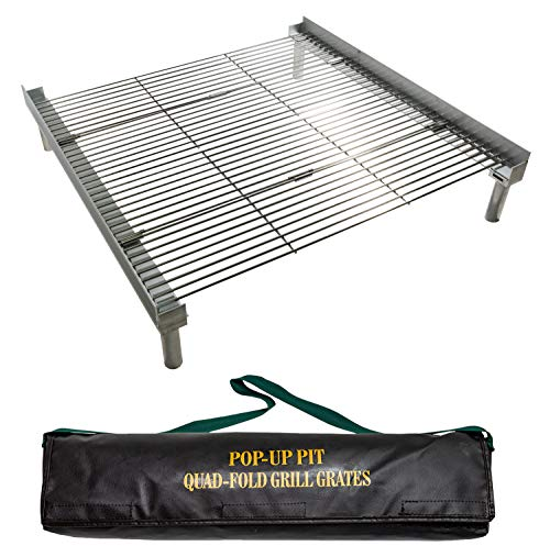 Campfire Defender Protect Preserve Pop Up Pit Portable Grilling Grates (QuadFold Folding Grill...