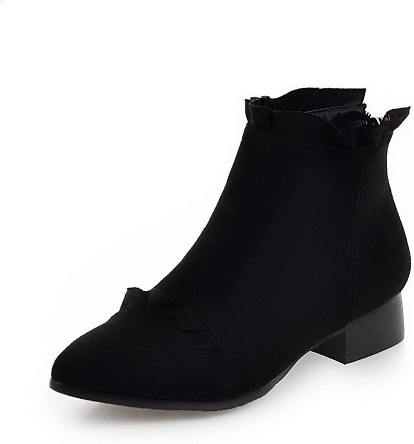 AllhqFashion Women's Low-Heels Frosted Low-top Solid Zipper Boots
