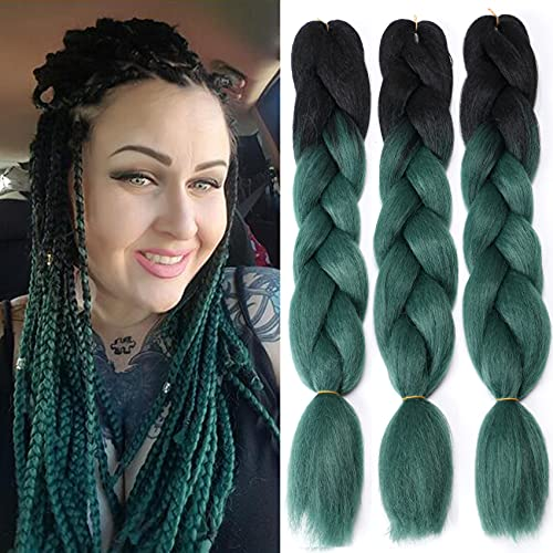 Ombre Braiding Hair Two Tone Color Hair Extensions Braid Crochet Twist Hair Synthetic High Temperature Fiber for Women 24 Inches 100g/bundle (3 Bundles/Pack,Black/Dark Green)