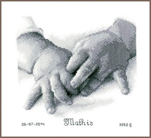 Vervaco - Kit de Punto de Cruz, diseño de Manos de bebé, Color Blanco y Negro