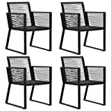 vidaXL 4X Garden Chair Outdoor Patio Balcony Terrace Seating Dining Dinner Dinette Chairs Lounge Seat Outside Furniture Rope Rattan Black