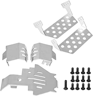 Dilwe RC Chassis Armors Set, Stainless Steel Chassis Armors Protection Skid Plate for Traxxas TRX-4 82056-4 RC Car Upgrade Part(Silver)
