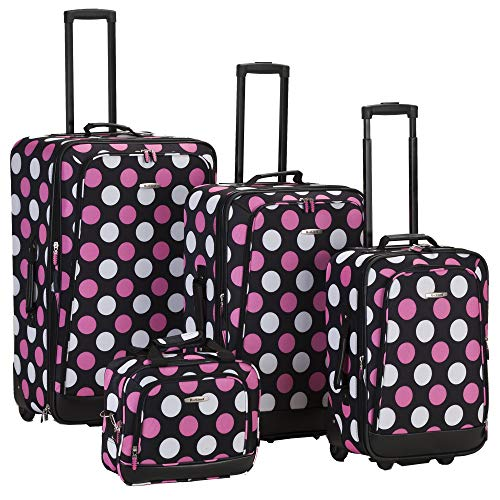 Rockland Escape 4-Piece Softside Upright Luggage Set, Multi/Pink Dot