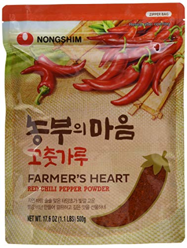 Nong Shim Farmer's Heart Red Chili Pepper Powder - Rotes Paprikapulver zum Würzen zahlreicher Gerichte - 1 x 500g in einer wiederverschließbaren Verpackung
