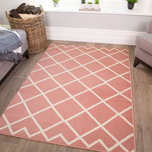 Blush Pink Geometric Trellis Rug Kids Bedroom Teenage Rugs Contemporary Diamond Living Room Lounge