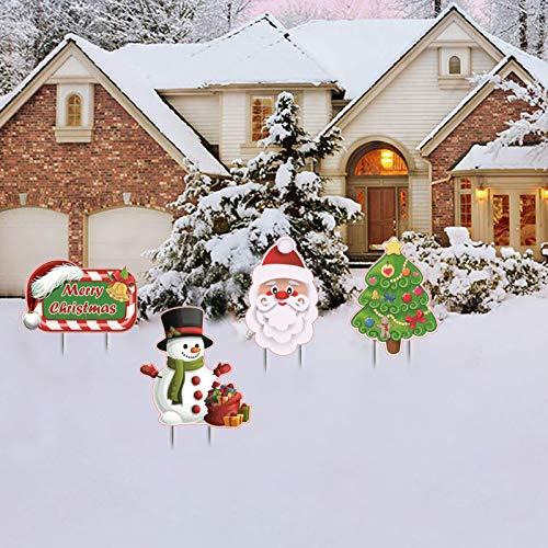 HONGXUNJIE Weihnachten Yard Signs Stakes Dekorationen Weihnachtsbaum, Weihnachtsmann, Schneemann,Xmas Yard Stakes Holiday Decor-Schilder für Home Lawn Pathway Zeichen Set