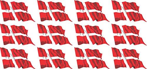 Mini Bandiere/Bandiere Insieme - Bandiera sventolante - 50x31mm - Adesivi - bannière - Dänemark - Standard pour la Voiture, Le Bureau, la...