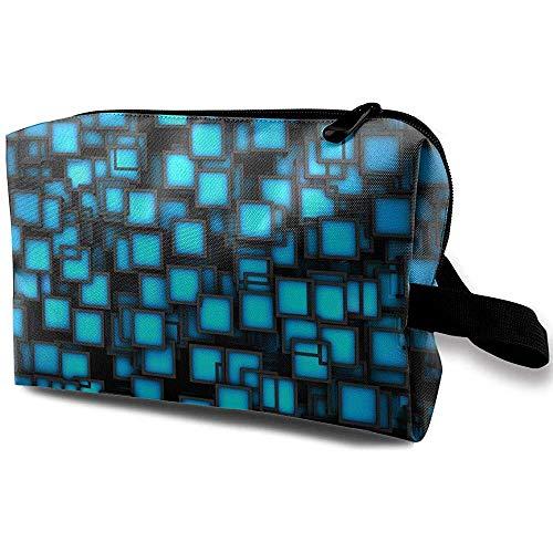 Voyage Cosmetic Bag Portable Sac À Main Bleu Plaids Trousse De Toilette Petit Maquillage Sacs Cas Organisateur