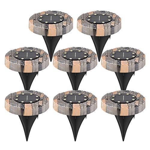 Haibei ソーラーライト 防犯ライト 屋外 埋め込み式 8個セット32LED IP65防水 自動点灯/消灯 ガーデン、車道、芝生、公園などに適用【電球色】