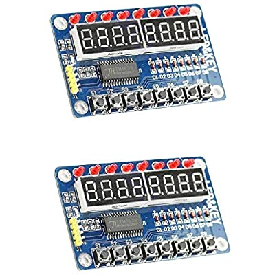 2pcs TM1638 8 Bits Digital LED Tube Display Module with 8 LEDs 8 Button keys for AVR Arduino ARM
