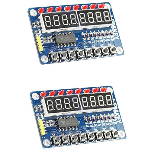 2 Stück TM1638 8 Bits Digital LED Röhre Display Modul mit 8 LEDs 8 Tasten Tasten für AVR Arduino ARM