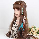 IYOU - Diadema con plumas de idiano, estilo hippie boho de los años 20, accesorio de joyería para mujeres y niñas