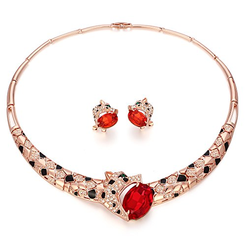 Kemstone Rose Gold Ruby Crystal Leopard Choker Necklace Stud Earrings Jewelry Set