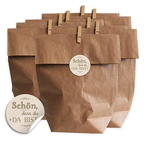 Eine der Guten Geschenktüten Set Schön DASS du da bist CHIC Creme - Set für Plätzchen, Kekse, Bonbons und Gastgeschenke mit 24 Tüten, Miniklammern und Geschenk-Aufklebern, Matte Papieraufkleber