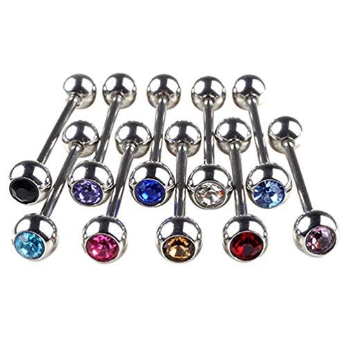 Fliyeong 10 piezas brillantes bola de diamantes de imitación barra lengua anillos punk hombres mujeres piercing joyería elegante y popular