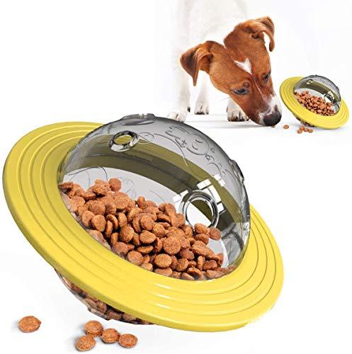 DYXT IQ Treat Ball-Ajustable Dog Treat Ball, alimentador Lenta, Perro de Juguete Rompecabezas, Treat dispensación Juguete y de Perro de Juguete Interactivo,Amarillo