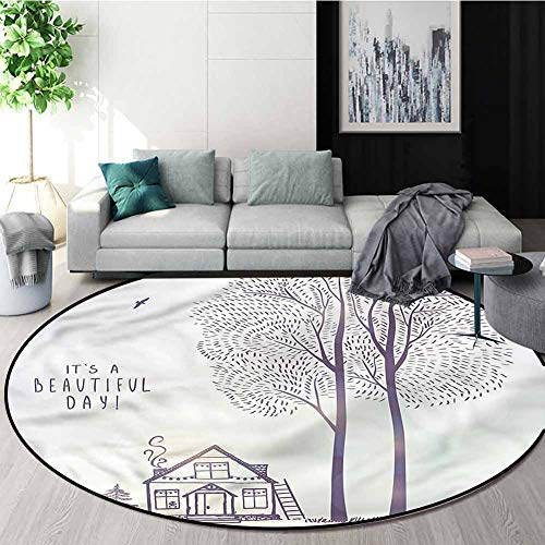 Great Features Of Quote Carpet Gray Round Area Rug,Sketch Country House Kids Teepee Tent Game Play H...