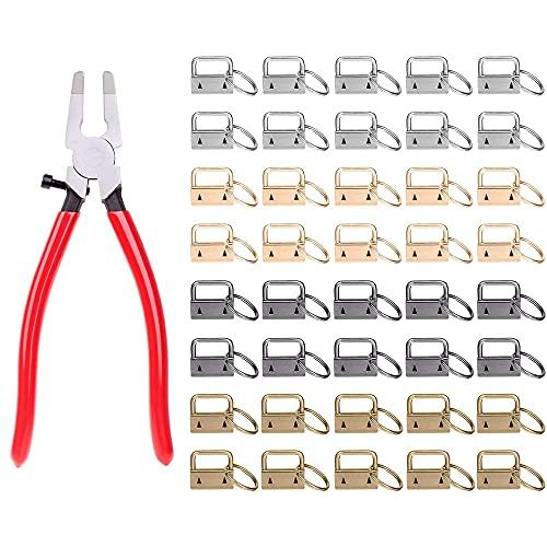 CJBIN Schlüsselband Rohlinge, 40 Stück 25mm Klemmschließ Eanhänger und 1 Werkzeugzange Schlüsselanhänger Filz Rohling Basteln Set für Herstellung von DIY Schlüsselbändern