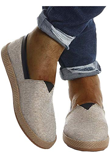 Leif Nelson Herren Espadrilles Schuhe für Freizeit Urlaub Freizeitschuhe für Sommer Flache Männer Sommerschuhe Sneaker Weiße Schuhe für Jungen Slipper LN200; 43, Beige