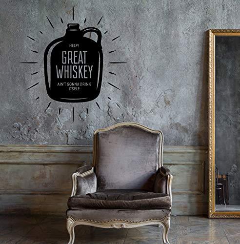 Muursticker zin in fles grote whisky drinken unieke sticker caz4784