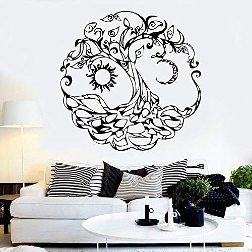 wZUN Árbol de la Vida Tatuajes de Pared Dormitorio Familiar Sala de Estar Estudio de Yoga Decoración Interior Vinilo Adhesivo 57X57cm