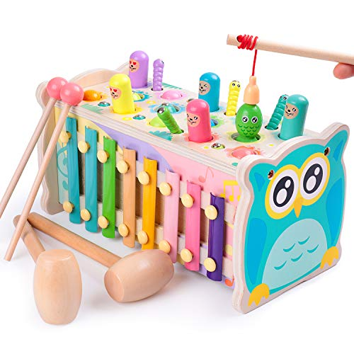 rolimate Hammering Pounding Toy Hamster Toy Xylophone Fishing Magnet Game, Montessori Early Educational Fine Motor Skill Toy , Best Birthday Gift for 3 4 5+ Years Boys Girls (2 Hammers Included)