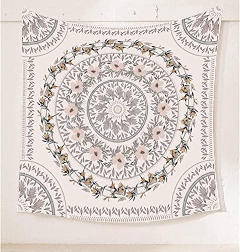 Tapiz de medallón floral bosquejado, mandala bohemio para colgar en la pared, mural de impresión artística india para dormitorio, sala de estar, dormitorio, decoración del hogar, 122 x 202 cm (mayo)